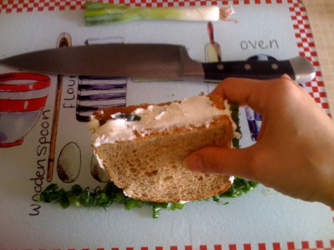 Check out this shot - perfectly focused hand with sandwich, artfully blurry big knife in background.  Oooh, it gives me chills.